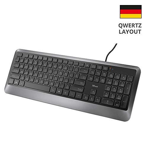 Trust Erou Leise Tastatur (QWERTZ, Deutsches Tastaturlayout) Schwarz