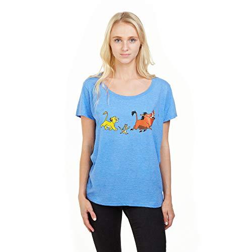 Disney Lion King Trio Camiseta, Azul (Heather Royal HRY), 38 (Talla del Fabricante: Small) para Mujer