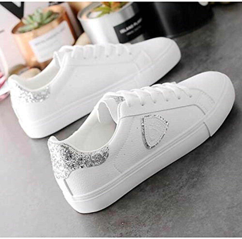 Women's Comfort shoes Microfiber Spring & Fall Sneakers Flat Heel gold Silver
