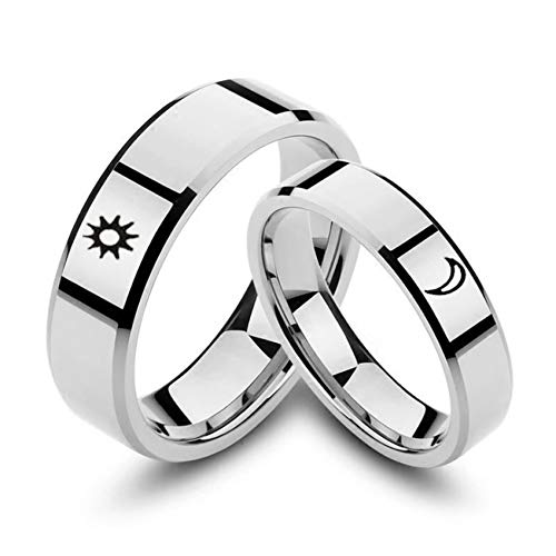 Ubestlove Mens Engagement Rings Titanium Engraved Moon Sun Ring Promise Ring for Girlfriend Silver Ring J½ P½