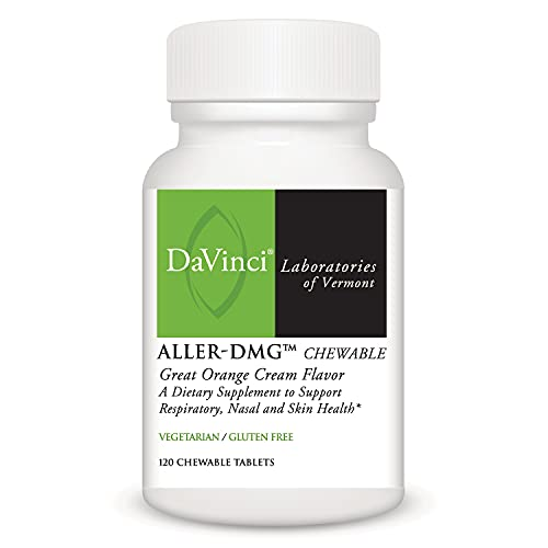 DaVinci Laboratories of Vermont Aller-DMG with Quercetin and Bromelain, Orange Cream, 120 Chewable Tablets - Histamine Blocker, Supports Respiratory, Nasal and Skin Health, Yellow (Pack of 1)