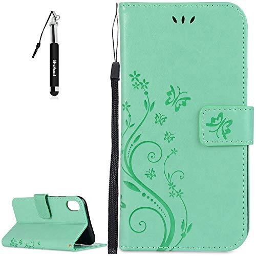 Huphant iPhone XR Hülle, iPhone XR Leder Tasche Flip Schutzhülle Wallet Case Tasche Hülle für iPhone XR Handytasche Bookstyle Stand Kartenfächer Magnet -Grün