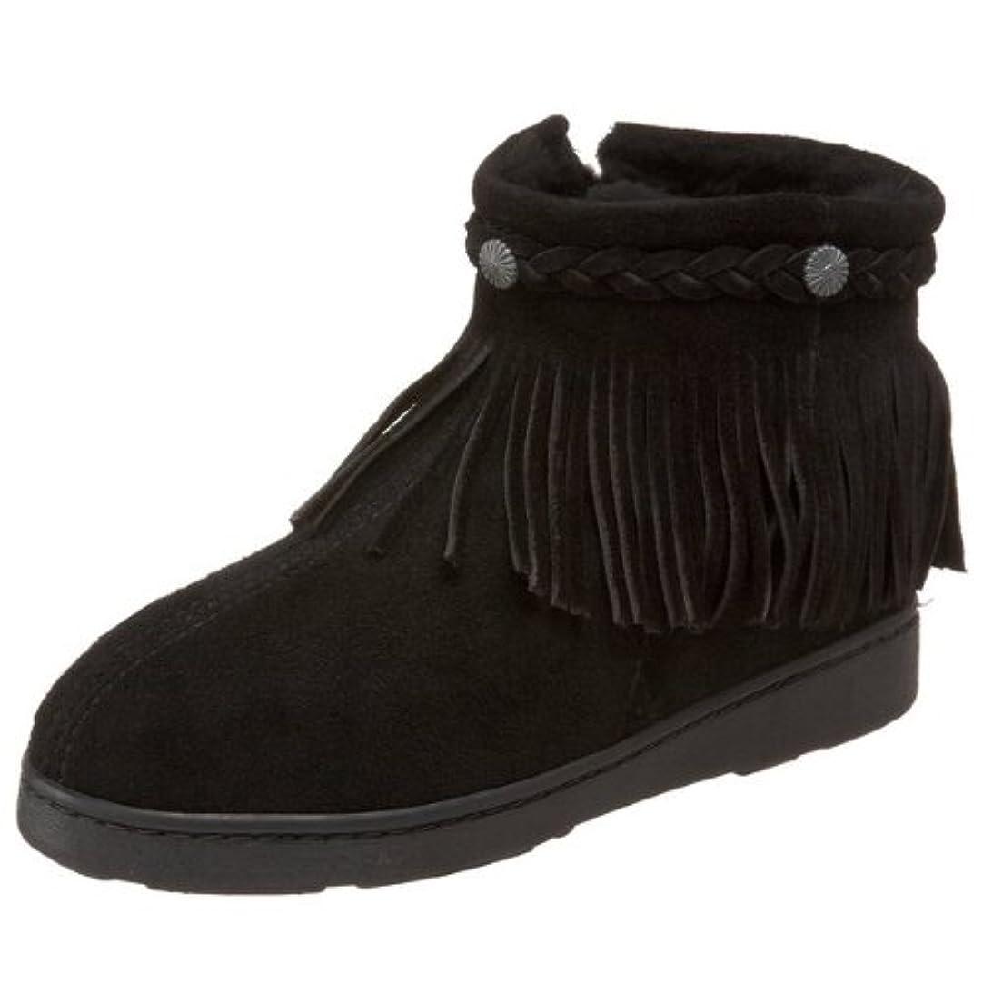 焦げ中性テープ[ミネトンカ] Minnetonka レディース SHEEPSKIN SIDE ZIP FRINGE BOOT シープスキン ブーツ ブラック(BLACK) US9(25.5-26cm) [並行輸入品]