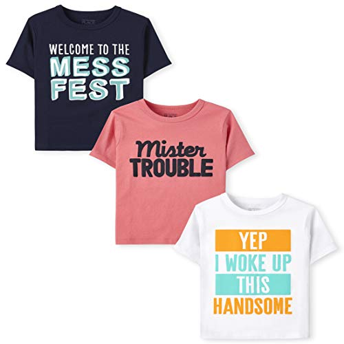 The Children's Place Baby and Toddler Boy Short Sleeve Graphic T-Shirt 3-Pack, Mister Trouble, 18-24 Months
