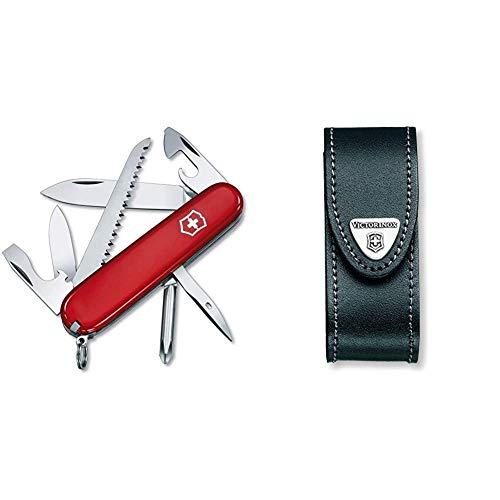 Victorinox Taschenmesser Hiker (13 Funktionen, Holzsäge, Phillips-Schraubendreher, Zahnstocher) rot & Leder-Etui (für Taschenmesser, Gürtelschlaufe, Klettverschluss, schwarz, 3cm x 10cm) schwarz