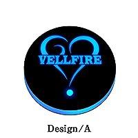光る LEDコースター 明るさセンサー 自動点灯消灯 イルミネーション 【デザインA】 (VELLFIRE&ハート)車内 車載 車用 丸型 ドリンクホルダー カップホルダー ボトルコースター ライトパッド マット 台座 インテリア