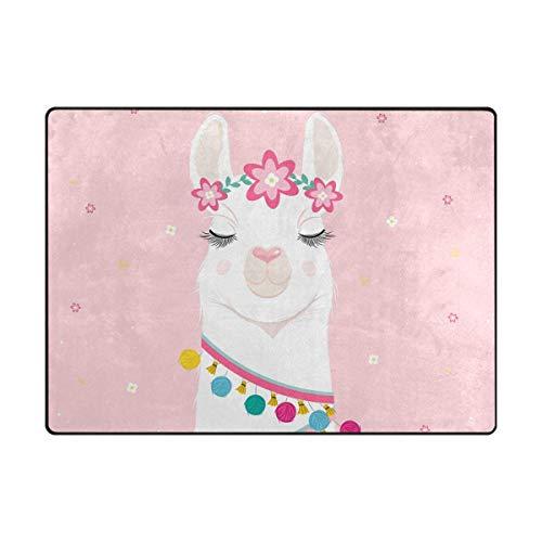 Joe-shop Alfombras Suaves de Espuma Floral Llama Alpaca Alfombra Ligera para Jugar para niños Alfombra de Yoga para el Suelo Alfombra de guardería para Sala de Estar Dormitorio