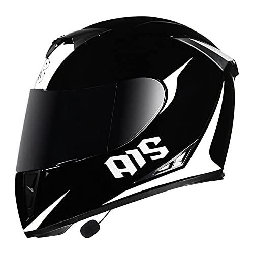 LIRONGXILY Casco Moto Modular Casco Moto Modular Casco Integral con Bluetooth Integrado con Doble Visera para Hombre o Mujer ECE Homologado (Color : A, Size : 61-62CM(XXL))