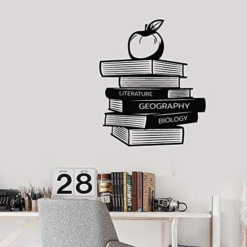 Etiqueta de la pared de lectura Biblioteca Geografía Literatura Biología Libros Apple Vinilo Etiqueta de la ventana Biblioteca Interior Arte decorativo Mural