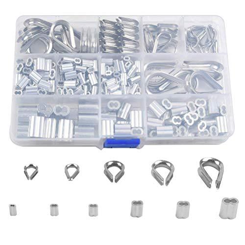 OFNMY Drahtseilhülsen Kabel Fingerhüte Aluminium Crimpschlinge Hülsen Set(250 Stück)