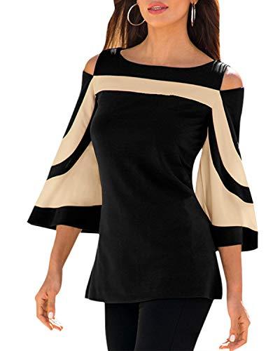 YOINS Damska elegancka bluzka na jesień, seksowna bluzka bez ramion, na co dzień