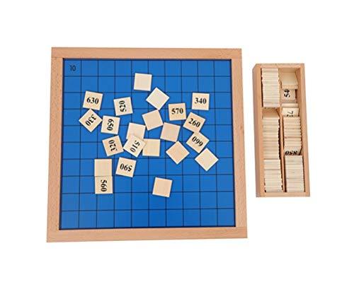 Natureich Montessori Matematik 10 – 1000 tusen tavla pussel leksak trä för att lära sig med nummerfält siffror färgglada från 3 år för tidig motorik utveckling och utbildning barn (10 stycken)