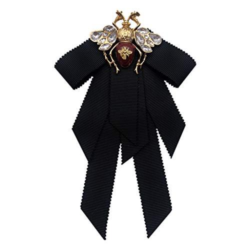 HOTPINK1 Broche vintage para mujer con diseño de pajarita de abeja, lazo de cristal