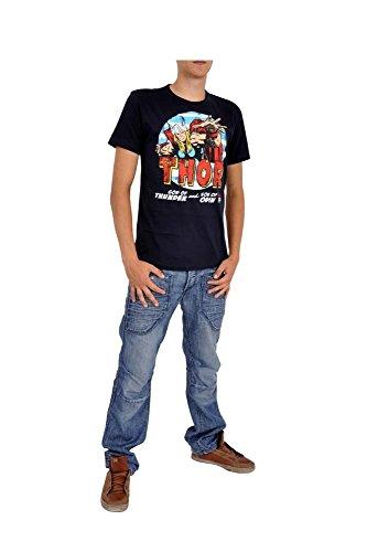 Marvel LOGOSH!RT Retro Comic TV Serie Herren T-Shirt THE MIGHTY THOR - DUNKELBLAU Gr. M (L16)