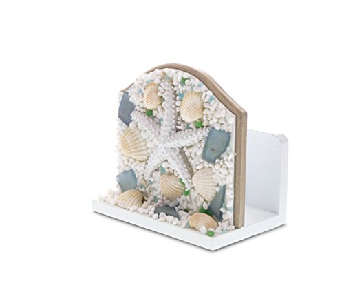"""CoTa Global Nautical Intricate Art """"Oceanic Sea Shell & Starfish"""" Wooden Napkin Holder Ocean & Sea Life Themed Tabletop Tissue Organizer Unique Handcrafted Hand-painted Home Accent Accessories"""