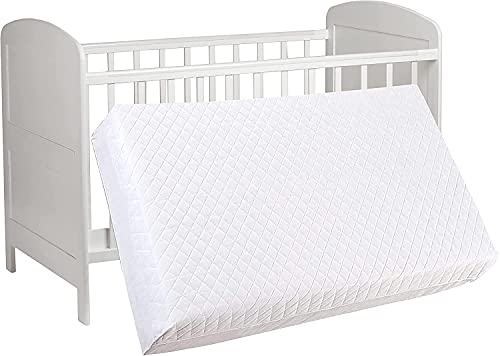 Bedding Studio Baby Travel Cot Mattress - Toddler Bed Crib Foam, Extra Thick Quilted Super Soft Cover Protector - Machine Washable, Breathable, Dryer Friendly & Anti Allergenic Bedding