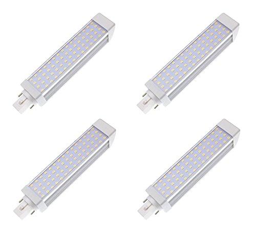 masonanic 4 unidades barco tipo LED G24 lámpara fluorescente luz blanca natural lámpara G24 de aluminio giratorio 2-Pins LED CFL/CFL, 12 W, 1200 lm 28 W CFL equivalentes, blanca fría 6500 K,
