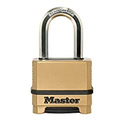Heavy duty outdoor lock; maximum security combination lock is best used as a gate lock, shed lock, or storage lock Set your own four digit combination lock for easy combination recall; no combination change tool required Padlock is constructed with a...