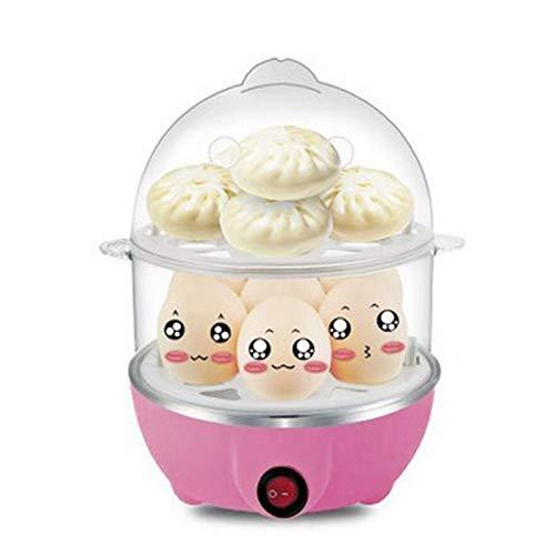 LJ2 Elektrischer Eierkocher, 2-lagiger Eierkocher mit bis zu 14 Eiern und automatischer Abschaltung Geeignet für gekochte Eier, gedünsteten Mais,Pink