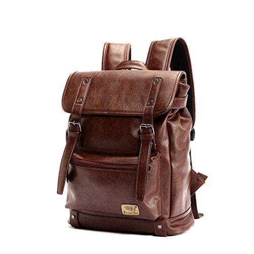 """YFbear Retrò Vintage Zaini in Pelle PU Esterni Viaggi Zaino Scuola Borsa a Tracolla fit iPad e 14"""" Laptop Backpack per Uomo e Donna (Caffè)"""