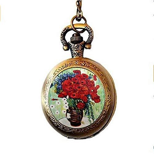 Van Gogh - Collar de reloj de bolsillo con diseño de flores...