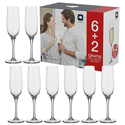 Leonardo - Ciao+ - Sektgläser, Sektglas, Champagnerglas - 8er Set - Glas - 190 ml