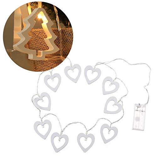 goneryisour Cadena de luces de madera de Navidad, estrella/amor/árbol de Navidad, 1,5/3 m