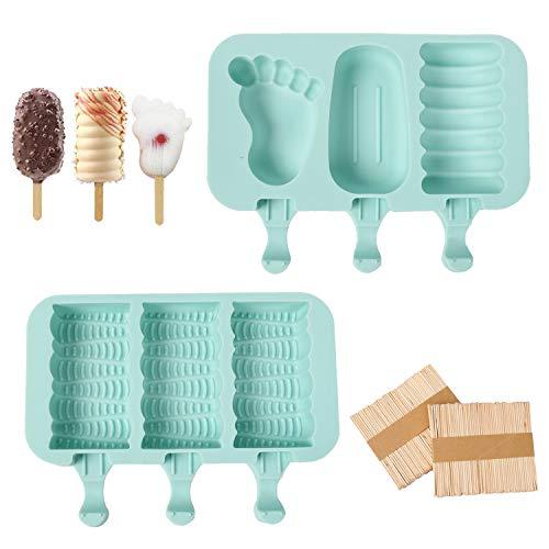 Juego ideal: moldes para polos contiene 2 moldes para polos con tapa + 100 palos de madera; Con el diseño de precisión, cada molde de helado mide 20 x 14 x 2,5 cm; Perfecto para cualquier tipo de frigorífico sin preocuparte por ocupar espacio, es tu ...