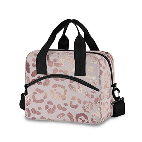Rose Pink Leopard Lunch Bag with Shoulder Strap for Women Men Insulated Lunch Box Tote Bags Water-resistant Cooler Bag for Office Work Picnic Beach (11x7x9 Inch)