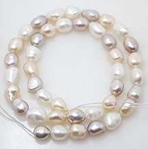 natural pearl white pink lilac baroque 8mmX10mm loose beads gem stone 14 inches