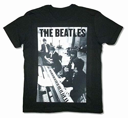 Beatles Piano Band Group Afbeelding Zwart T Shirt Apple