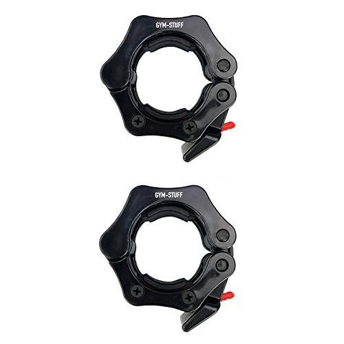 """PROTONE Abrazaderas de barra olímpica de 2 """"/ 5 cm para adaptarse al cuello de barra de 28 mm - con función de liberación rápida - negro"""