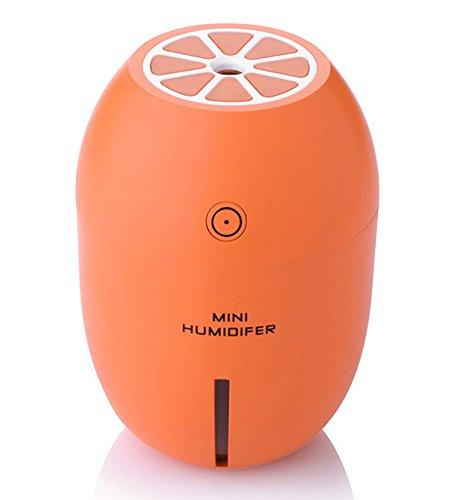 Flikool Portable Mini Citron Humidificateur 180ml avec LED Veilleuse Lumiere de Nuit Voiture Humidifier Ultrasonique Purificateur Cool Mist d'air Diffuseur - Orange