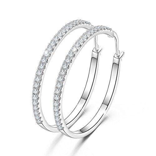 GOXO 925 Sterling Silber Creolen Runde Schleifen Ohrringe gepflastert Zirkon Halo CZ Frauen Ohrschmuck (40)