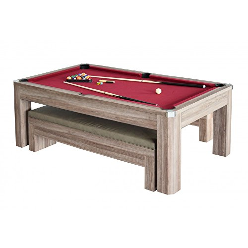 Carmelli NG2535P Newport 7' Multi-Functional Pool Table Set with Benches Reversible Dining/Table Tennis Design and Game Accessories