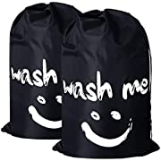 "2 Pack Extra Large Travel Laundry Bag Set Nylon Rip-stop Dirty Storage Bag Machine Washable Drawstring Closure 24"" x 36"" (Blue and Gray)"