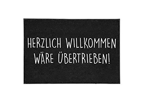 CupenTicker - Zerbino con scritta 'Herzlich Wilkommen wäre übertrieb' ('Herzlich Wilkommen wäre Übertrieb') - divertente - dentro e fuori - lavabile, idea regalo - decorazione