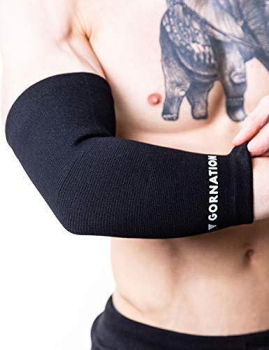 Ellenbogen Support Unterstützung Socke gegen Schmerzen für Calisthenics, Street Workout und Fitness, Schwarz, M