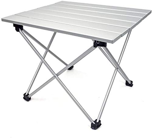 ZQWE Portable Camping Table, Lightweight Folding Table with Aluminum Table Top, Catering Camping Garden Patio BBQ Party Table, for Outdoor, Picnic, Cooking, Beach, Hiking, Fishing (Silver,Large)