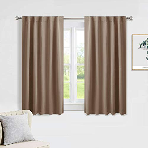PONY DANCE Blackout Curtains Drapes - Home Decoration Light Blocking Thermal Insulated Window Back Tab/Rod Pocket Curtain Panels Privacy Protect for Bedroom, W 42 in by L 54 in, Mocha, Set of 2
