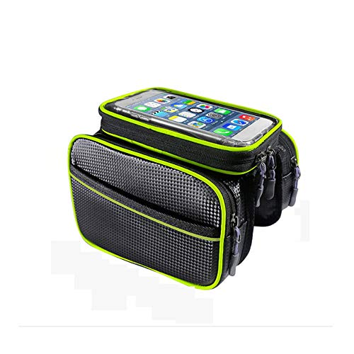 Haoooan Phone Holder for Bike Bicycle Strap-On Bicycle Saddle Bag/Bicycle Seat Pack Bag, Bicycle Accessories Bicycle Frame Front Tube Bag Practical Waterproof Touch Screen Phone Stand Necessary Outd
