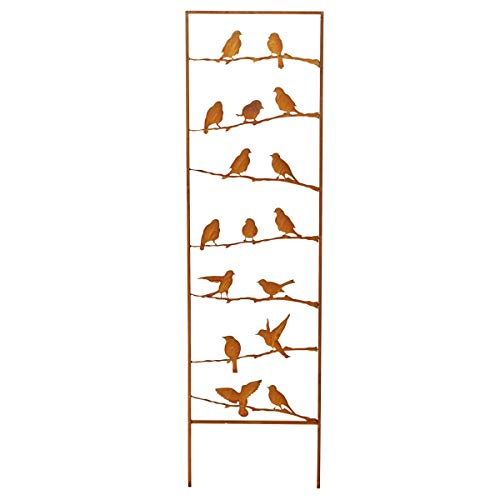 Pureday Gartendeko - Rankhilfe Vögel - Edelrost - Gartenstecker - Metall - Rost - Höhe ca. 139 cm