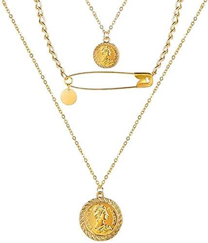 niuziyanfa Co.,ltd Necklace Bohemia Gold Portrait Moon Pearl Pendant Necklaces for Women Vintage Long Necklace Jewelry