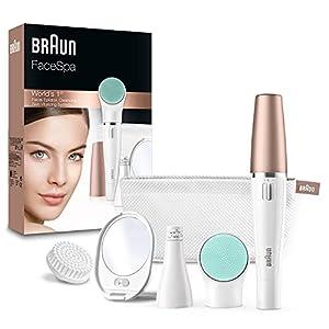 Braun FaceSpa Depiladora Facial Mujer 3 en 1 con Cepillo Limpiador y de Masaje, 851, Blanco