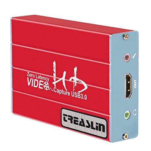 Capture Card USB3.0 1080P60fps Spiel Videoaufzeichnungskarte, unterstützt Windows 7/8/10, PS5,PS4 Nintendo Switch Linux YouTube OBS Twitch, Audioausgang mit 3,5mm Mikrofon, TSV 3212 TreaLin