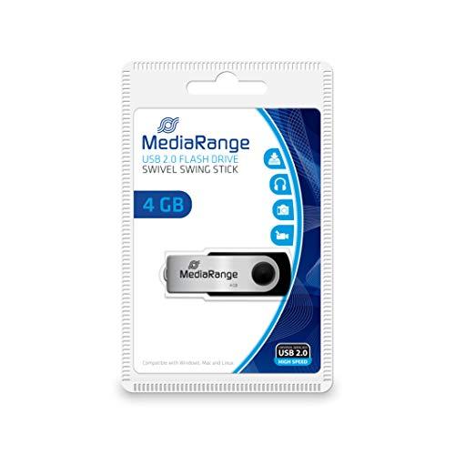 MediaRange Flexi Memoria USB 4GB MR907 15MB/s USB 2.0 Negro-Plata