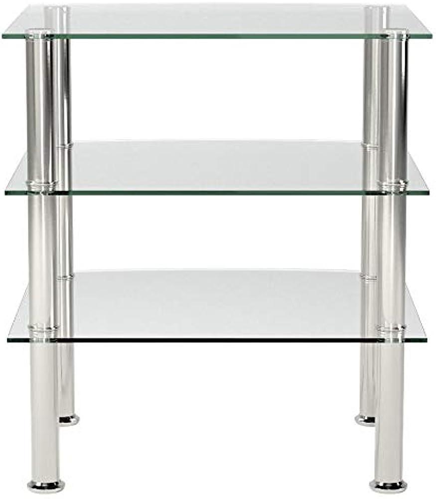 Haku möbel ,tavolino con struttura in acciaio inossidabile, e ripiani in vetro 15209