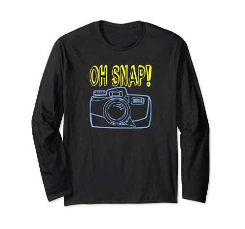 OH SNAP Fotocamera divertente citazione fotografo fotografia Hobby Maglia a Manica