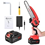 Mini Chainsaw Cordless Handheld Portable Chainsaw 8-inch Battery Operated Electric Hand Saw with Safety Lock Rechargeable Battery Pruning Saw for Tree Branch Wood Working