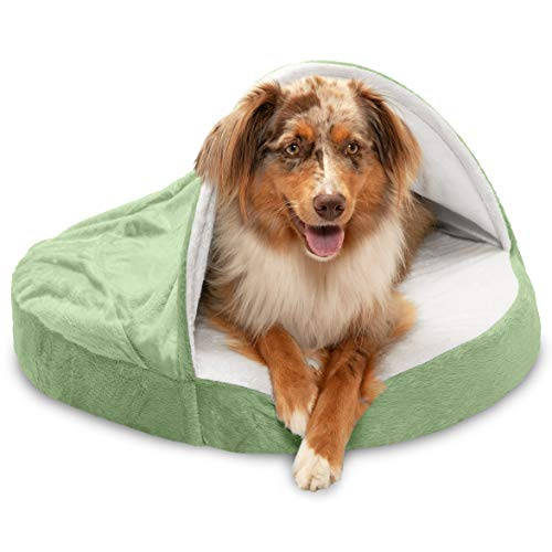 Furhaven Orthopedic Pet Bed for Dogs and Cats - Microvelvet Snuggery Blanket Burrow Nest Dog Bed with Removable Washable Cover, Sage, 26-Inch